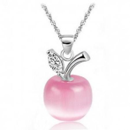 Pure 925 sterling silver platinum plated apple pendant necklace pure 925 sterling silver platinum plated apple pendant necklace aloadofball