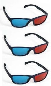 f4e58e95b Red-Cyan 3D Glasses for 3D DVD Videos, Youtube 3D, Gaming 3D, Plastic Extra  upgrade Anaglyph - Pack of 3
