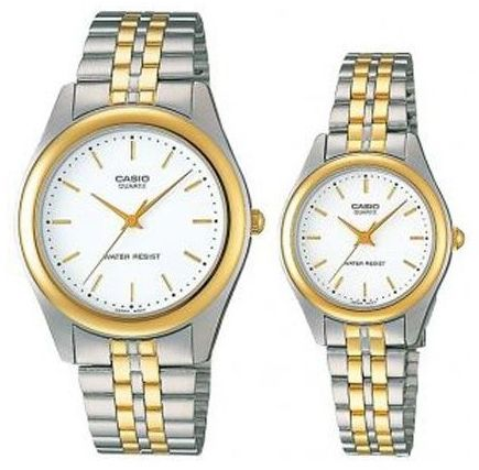cacd415d4dc9 Casio His   Her White Dial Two Tone Stainless Steel Band Couple ...