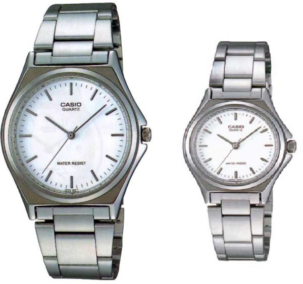 e8a73255ff39 Casio His   Hers White Dial Stainless Steel Band Couple Watch - MTP LTP-1130A-7A