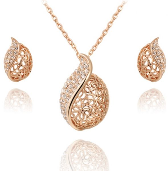 18k Gold Plated Earrings Necklace Set