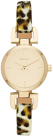 DKNY Ladies Gold Dial Leather Band Watch [NY8880]