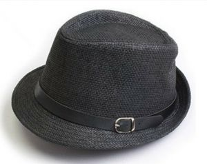 bedc5d6da23 Women Men Trendy Unisex Fedora Trilby Gangster Cap Summer Beach Sun Straw  Panama Hat Sunhat Belt GH3115 Black