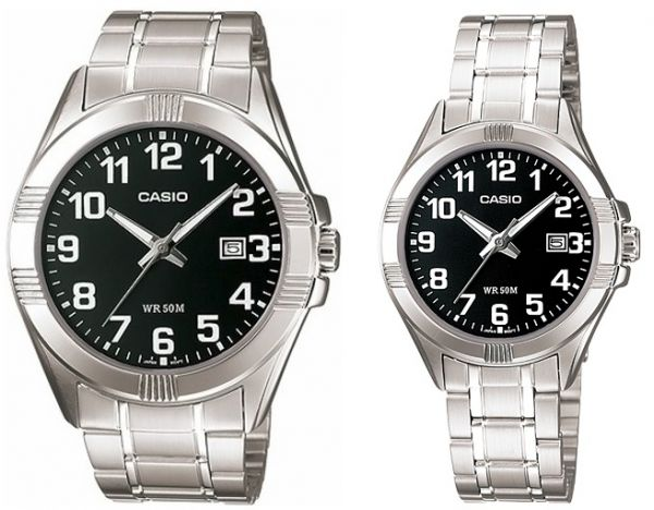 81a7ac5e4fe2 Casio His   Her Black Dial Stainless Steel Band Couple Watch  MTP LTP-1308D- 1B . by Casio