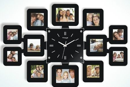 Square Wall Clock With 12 Photo Frames Black Souq Uae