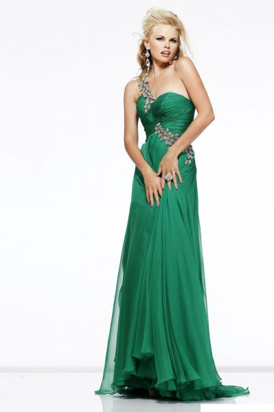 b766152c96e Sherri Hill Green Chiffon Special Occasion Dress For Women