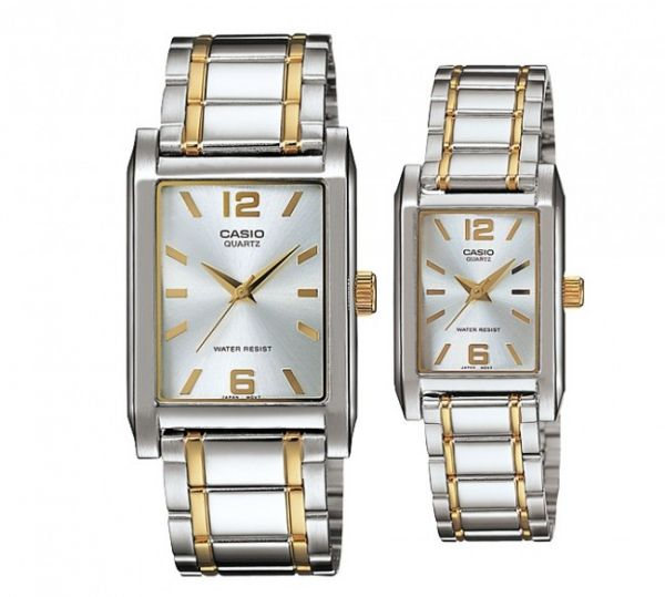 e1f262f88cf1 Casio His   Her Silver Dial Two Tone Stainless Steel Band Couple Watch  MTP  LTP-1235SG-7A