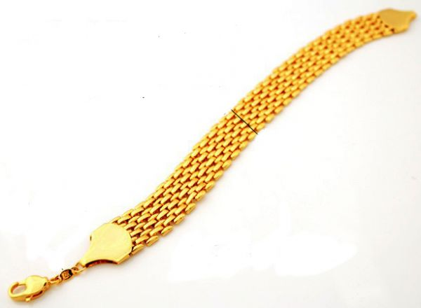 18k Real Gold Plated Stylish Chunky Bracelet For Men With 18kgp Stamp