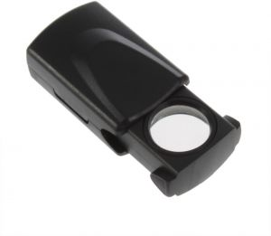 Black 30x 21mm Microscope Loupe Pull Type Jewelry Magnifier LED Light