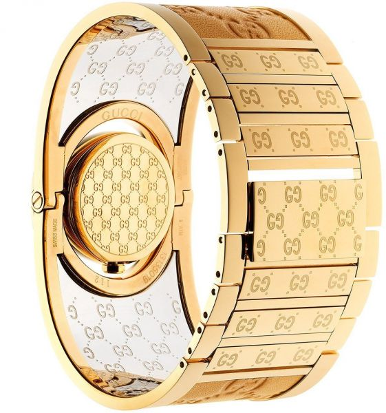 6dcd9cacf5d Gucci Twirl Guccissima Women s Brown Dial Gold Plated Bangle Band Watch -  YA112434