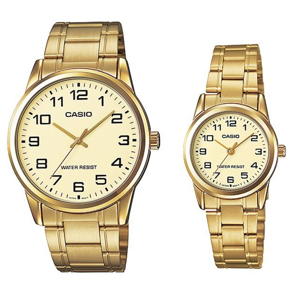 d4ba7087503 Casio His   Her Gold Dial Stainless Steel Band Couple Watch - MTP LTP-V001G-9BUDF