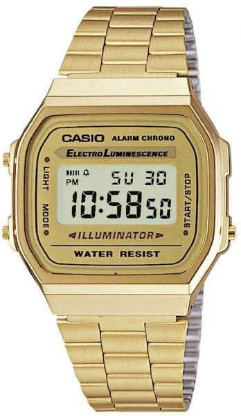 61aa5c32e479 Casio Unisex Illuminated Digital Dial Gold Tone Stainless Steel Band ...