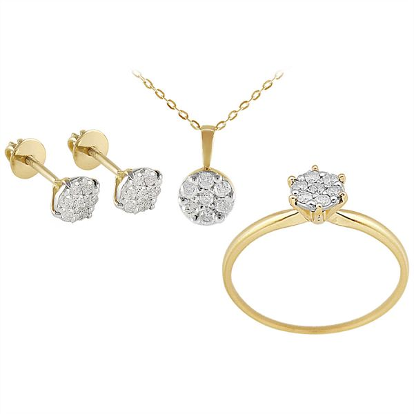 Vera Perla 18k Solid Yellow Gold Diamond Solitaire Jewelry Set Ss1