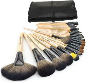 7f4f68e45 Wisedeal 24 pieces Professional Cosmetic Makeup Brown Brush Set with black  bag