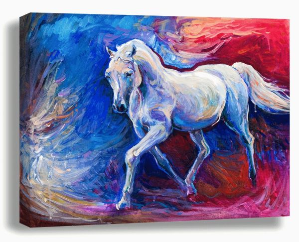Art On Canvas Multi Color Horse Painting