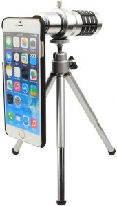 12x Zoom Aluminum Alloy Telephoto Lens w/ Tripod Mount Back Case for iPhone 6/iPhone 6S - Black Silver