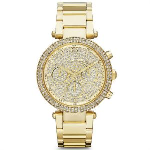 fb5a40348f3f Michael Kors Parker For Women Gold Dial Stainless Steel Band Chronograph  Watch - MK5856