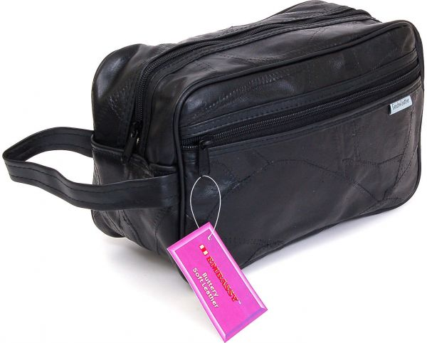 Leather Toiletry Bag Shaving Kit Travel Case Tote Make Up Zippered ... ceeaa4f7ab34e