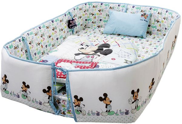Disney Mickey Mouse Printed Baby Bedding 4 Piece Set, Blue ...