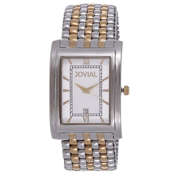 Jovial Swiss Made For Men White Dial Stainless Steel Band