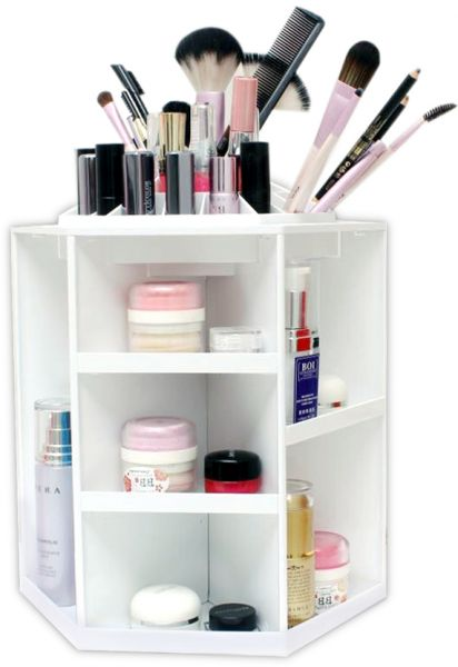 spinning makeup organizer 360 rotating cosmetic storage. Black Bedroom Furniture Sets. Home Design Ideas