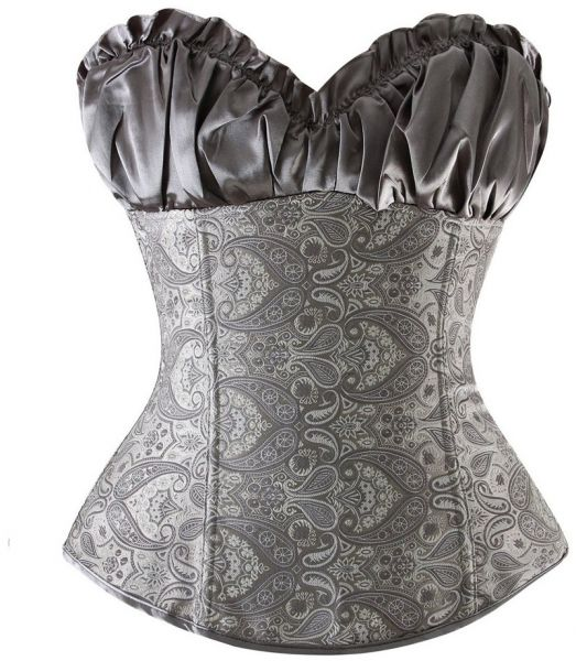 61ce30a869e GREY CORSET WITH PAISLEY DESIGN size large