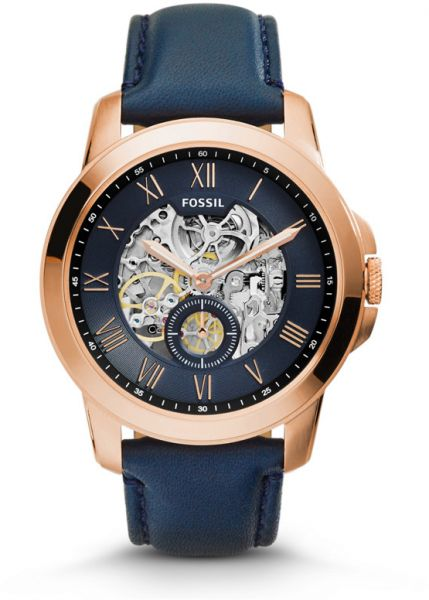 b8ac2cd70 Fossil Grant For Men Blue Dial Leather Band Automatic Watch - ME3054 ...