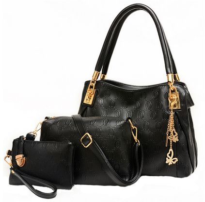 Tote Bag with 2 Pouch Set for Women - Black  70475b08a83f4