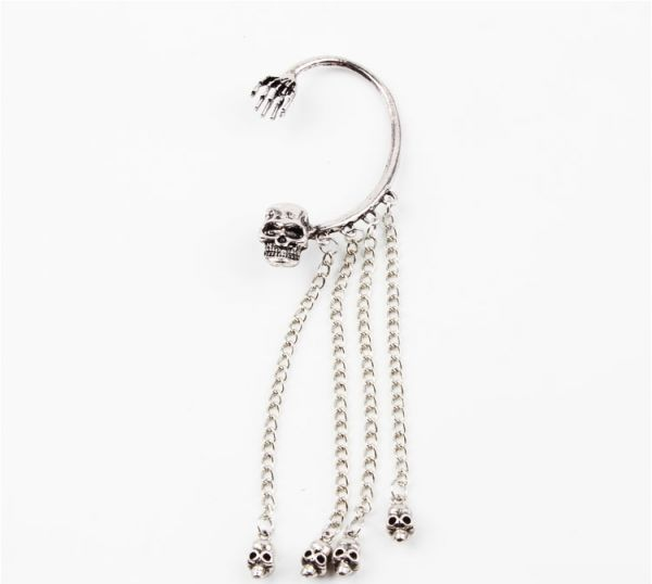 Punk Style Silver Plated Color Skull Hand And Head Earring One Piece