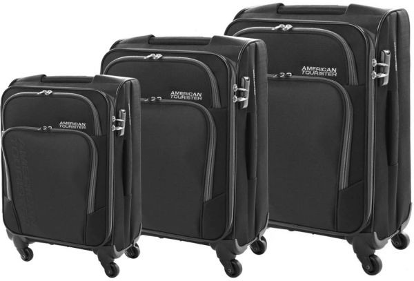 american tourister 34t09010 featherlite ii trolley bag 3pc 556677 blk