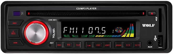 Wolf CW-901 Car CD and MP3 Player - Black