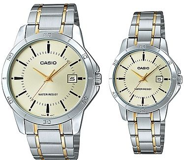 bc85e9c8fb4a Casio His and Hers Stainless Band Couple watch  MTP LTP-V004SG-9A ...