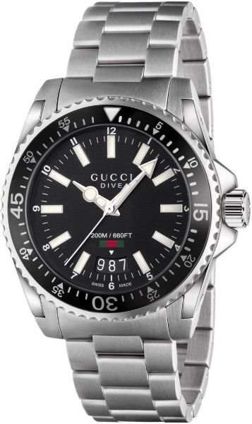 9e40f091f78 Gucci Dive Men s Black Dial Stainless Steel Band Watch - YA136301 ...