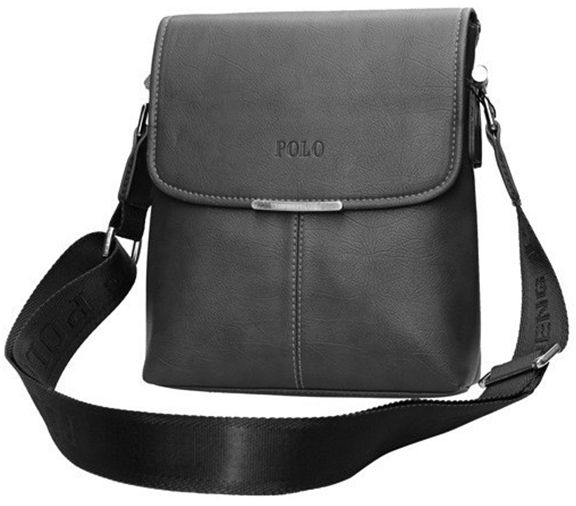 4b4bbe33b9f Videng Polo Fashionable Plaid Messenger Bag for Men - Leather, Black   Souq  - UAE
