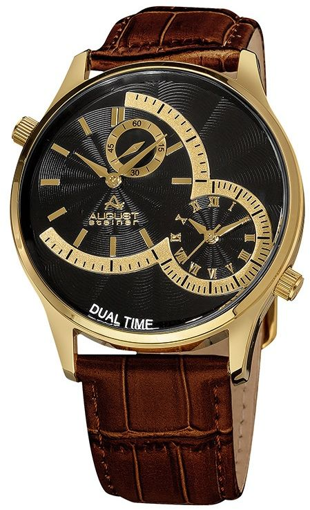 August Steiner Men's Black Dial Leather Band Watch - AS8010YGBR