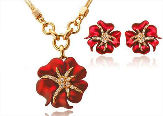 Women's gift 18K gold plated flower rhinestone 2 pieces jewelry sets necklace earrings red DGV12