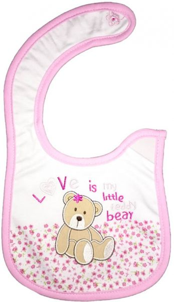 Carters Baby Bibs for Girls - White and Light Pink