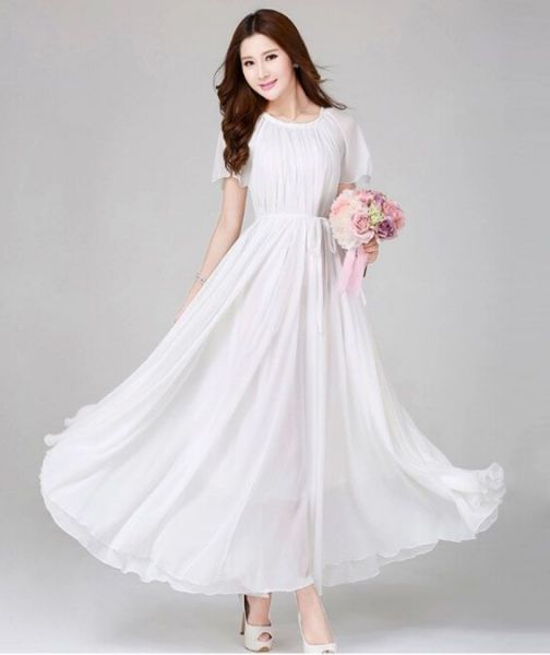 White Color Ladies Women's Fashion Evening Dress Wedding