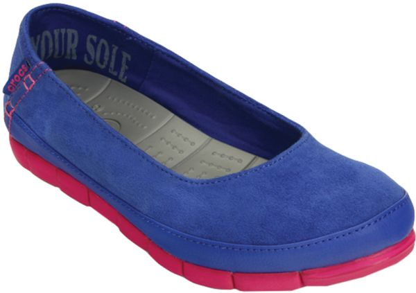 Crocs 15515 Stretch Sole Microsuede Flats For Women - Blue And Pink