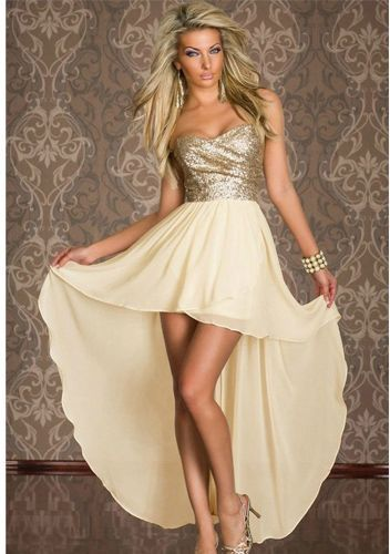 Women's Fashion Charming Boulevard Sequined Long Clubwear Party Dress Beige Color