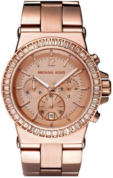 6088f49adc6ee Michael Kors Women s Rose Gold Dial Stainless Steel Band Chronograph ...