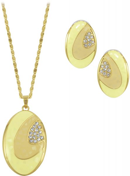Crystal Asfour 2 Piece Jewelry Set for women - Gold