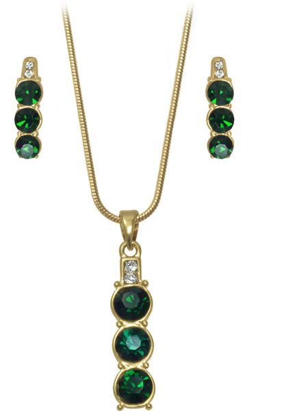 Crystal Asfour 2 Piece Jewelry Set for women - Green and Gold