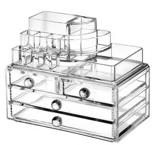 1dc0a6d7fca2 Clear Acrylic Cosmetic Organizer  Makeup Box Case