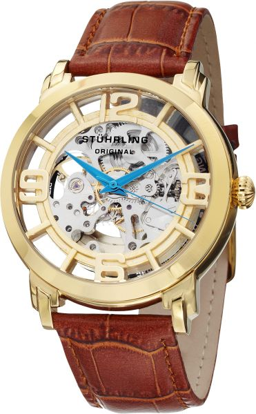 Stuhrling Original Winchester 44 Men's Gold Dial Leather Band Automatic Watch - 165B2.3335K31