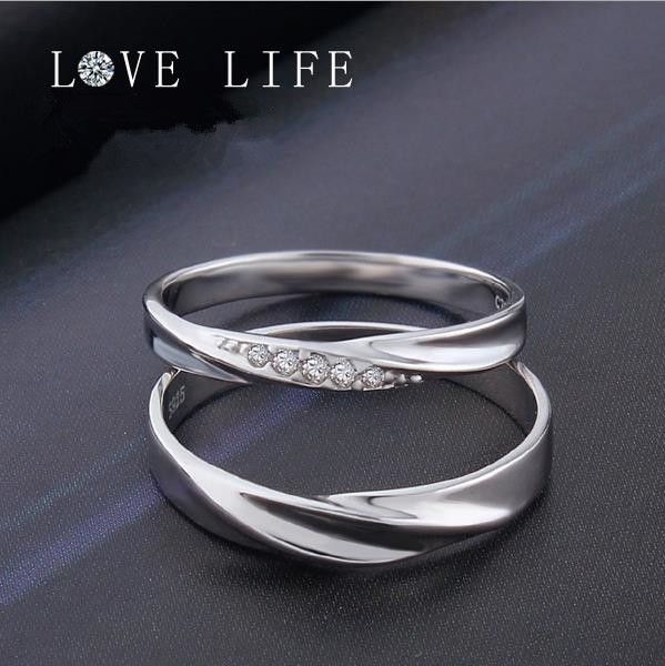 f909bc6c28 925 Sterling Silver Simple Fashion Interwined Love Wedding Couple ...