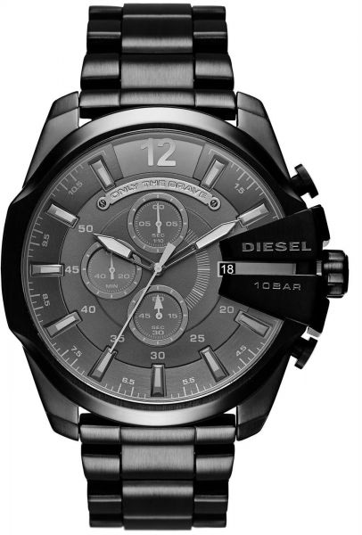 750945392 Diesel Mega Chief Men's Black Dial Stainless Steel Band Chronograph Watch -  DZ4355