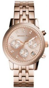 9ed681bf35e4 Michael Kors Ritz Women s Rose Gold Dial Stainless Steel Band Chronograph  Watch - MK6077