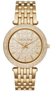 84a9721aa Michael Kors Darci Women's Gold Monogram Dial Stainless Steel Band ...