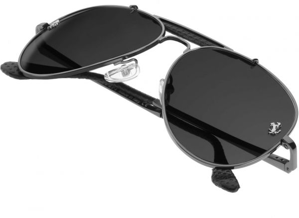 956324766f Ferrari 275 GTS Aviator Men s Anthracite Leather Sunglasses - Black ...